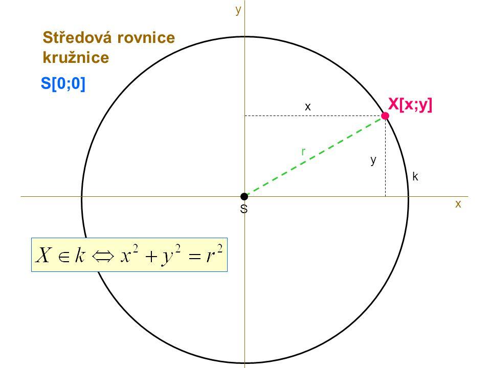 y Středová rovnice kružnice S[0;0] X[x;y] x r y k x S